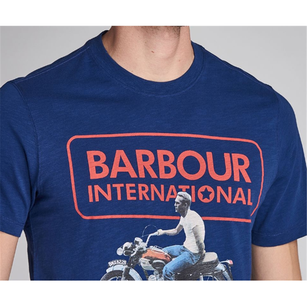 New 2020 Barbour International Men's Steve McQueen Relaxed T-Shirt - Inky Blue
