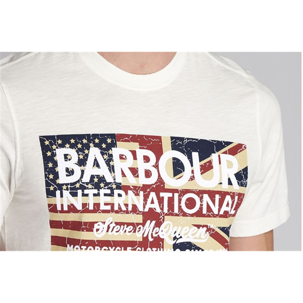 New 2020 Barbour International Men's Steve McQueen Vintage Flag T-Shirt - Whisper White