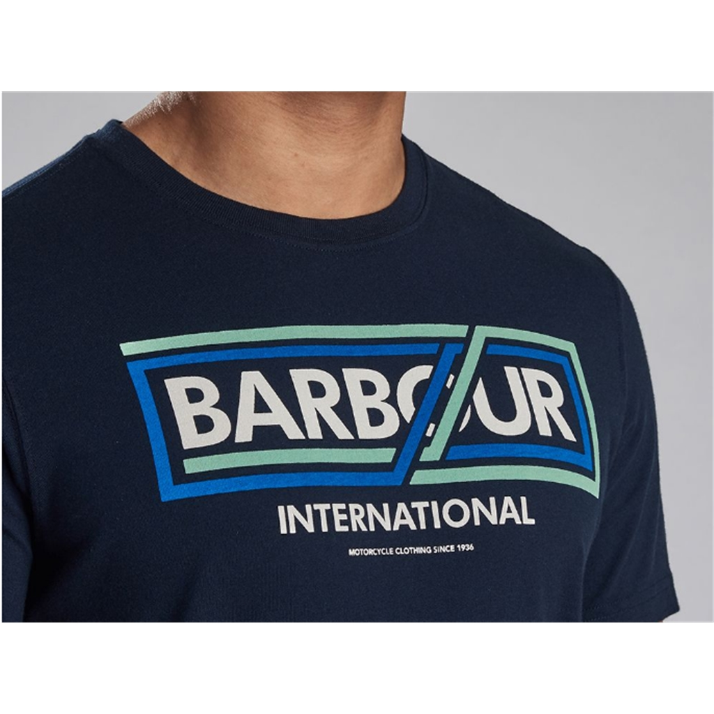 New 2020 Barbour International Men's Compressor T-Shirt - Navy