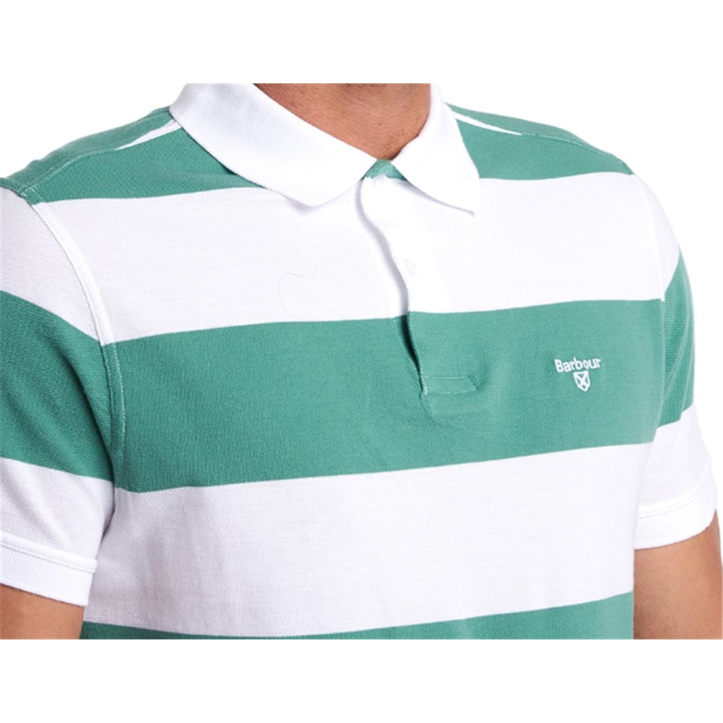 New 2020 Barbour  Men's Harren  Stripe Polo Shirt - Nevada Green