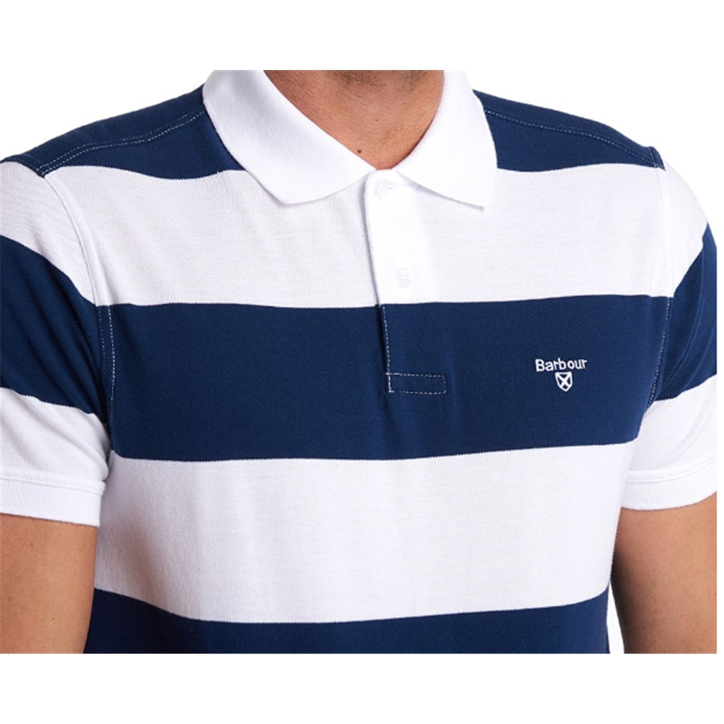 New 2020 Barbour  Men's Harren  Stripe Polo Shirt - Regal Blue