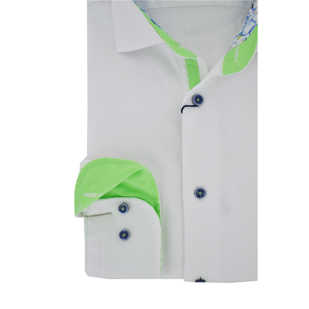 Giordano Long Sleeve Shirt - White Honeycomb Texture with Bright Green Contrast