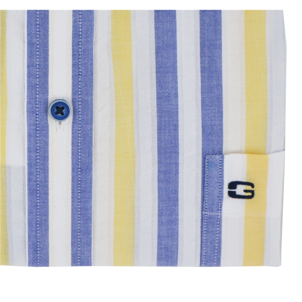 New 2020 Giordano Short Sleeve Shirt - Yellow Stripe