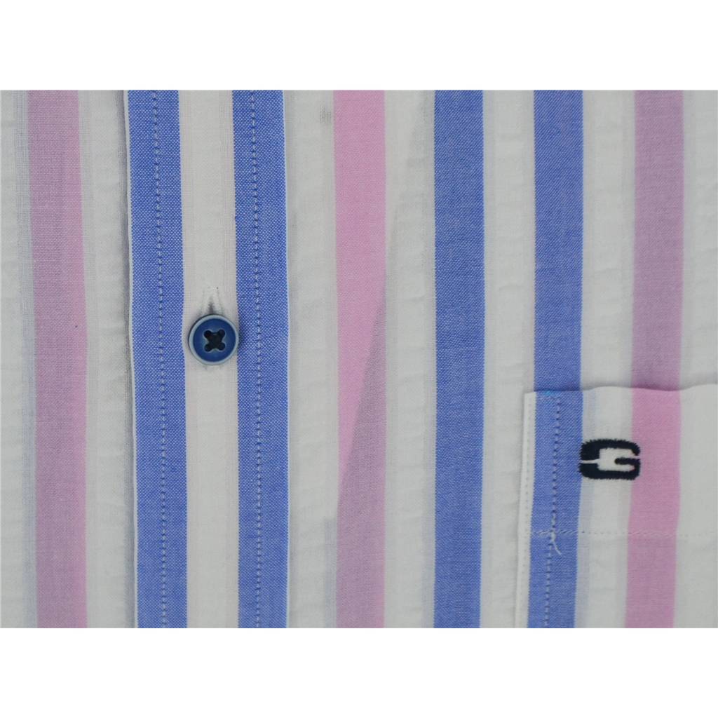 Giordano Short Sleeve Shirt - Pink Stripe