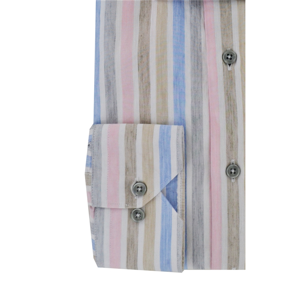 Giordano Linen Shirt - Multicoloured Pastel Stripes