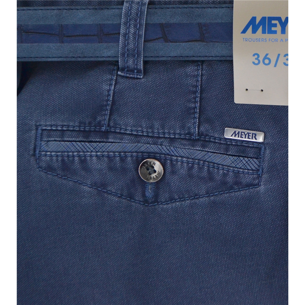 New Summer Meyer Cotton Trouser - Mid Blue - Oslo 3122 17