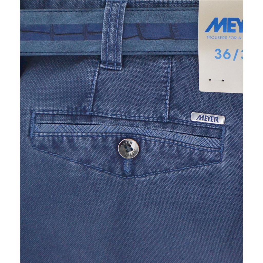 New Summer Meyer Cotton Trouser - Mid Blue- Chicago 5033-18