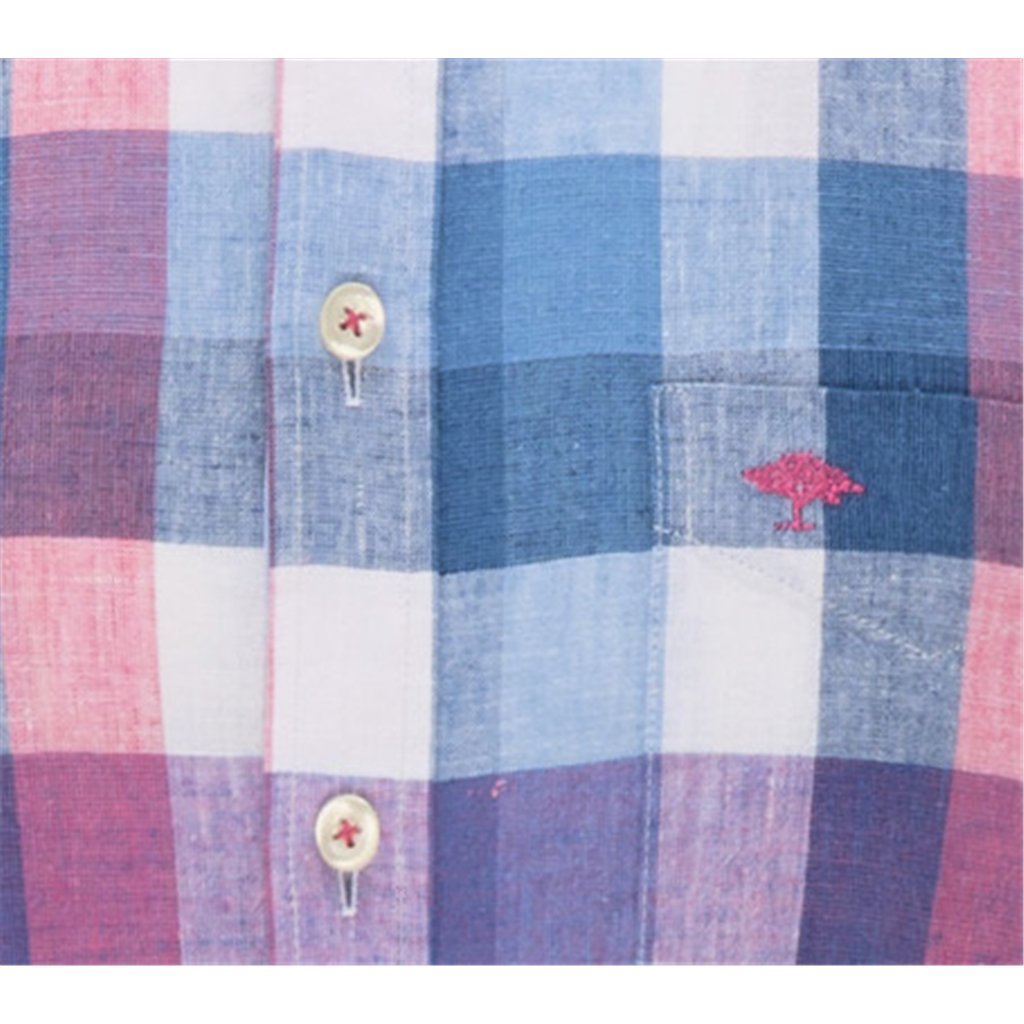 Fynch Hatton Linen Check Shirt - Blossom Blue