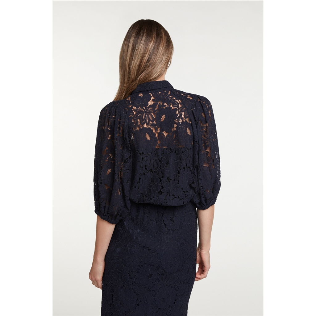 New 2020 Oui Lace Blouse - Navy