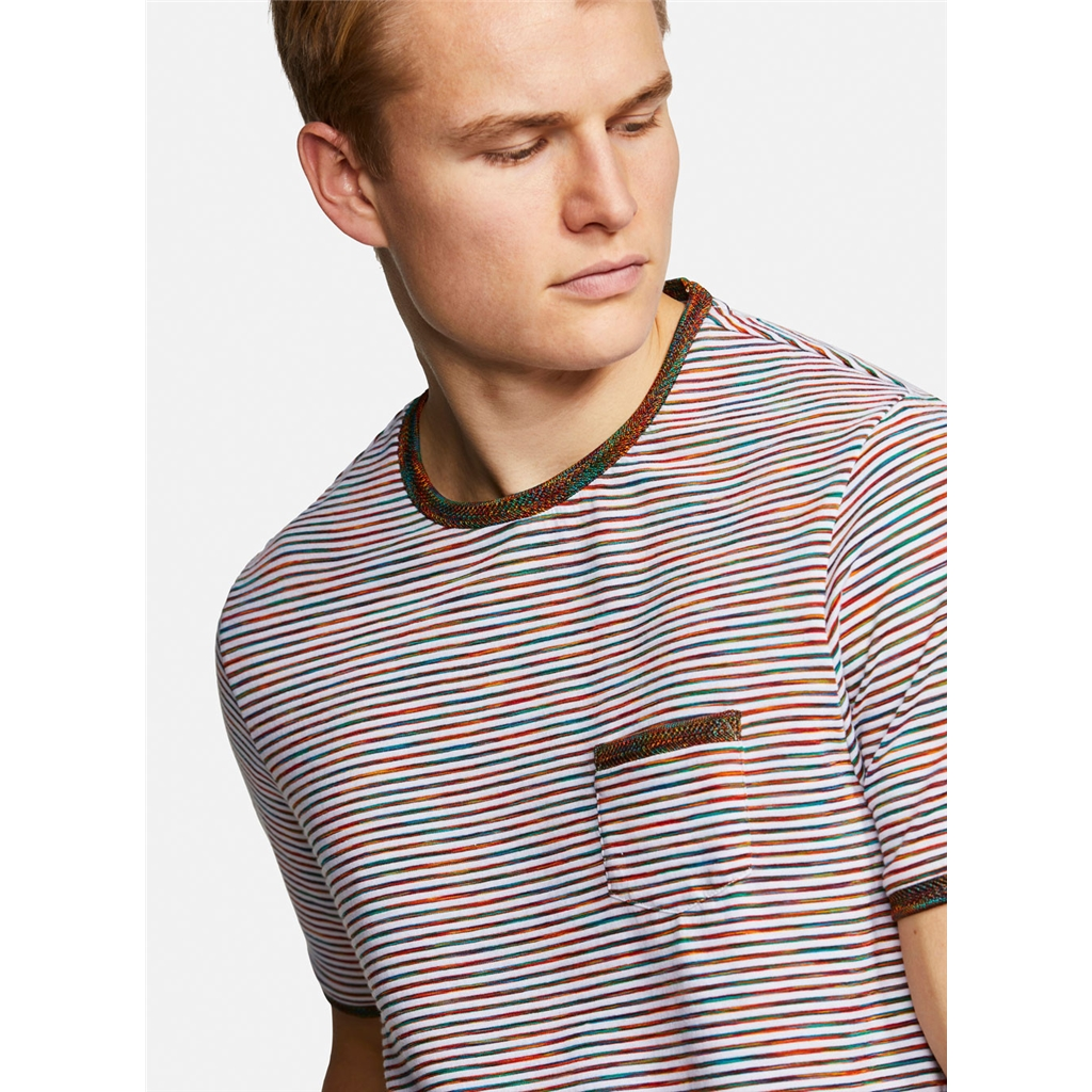 Colours & Sons Mario Striped Crew Neck T-shirt -  Red