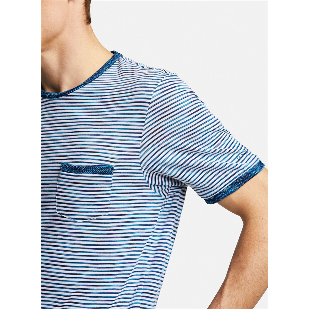 Colours & Sons Mario Striped Crew Neck T-shirt -  Blue