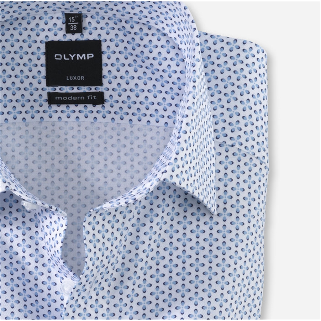 Olymp Casual Short Sleeve Shirt - White with Sky Neat Design