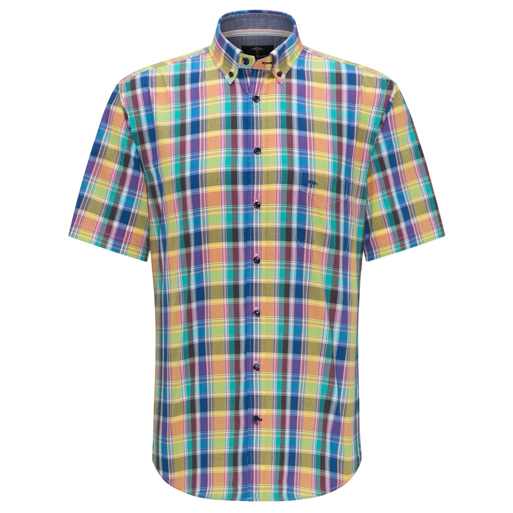 Fynch Hatton Short Sleeve Shirt - Azure Madras Check