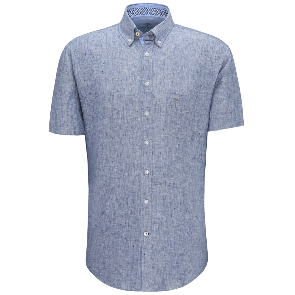 New 2020 Fynch Hatton Short Sleeve Linen Shirt - Navy