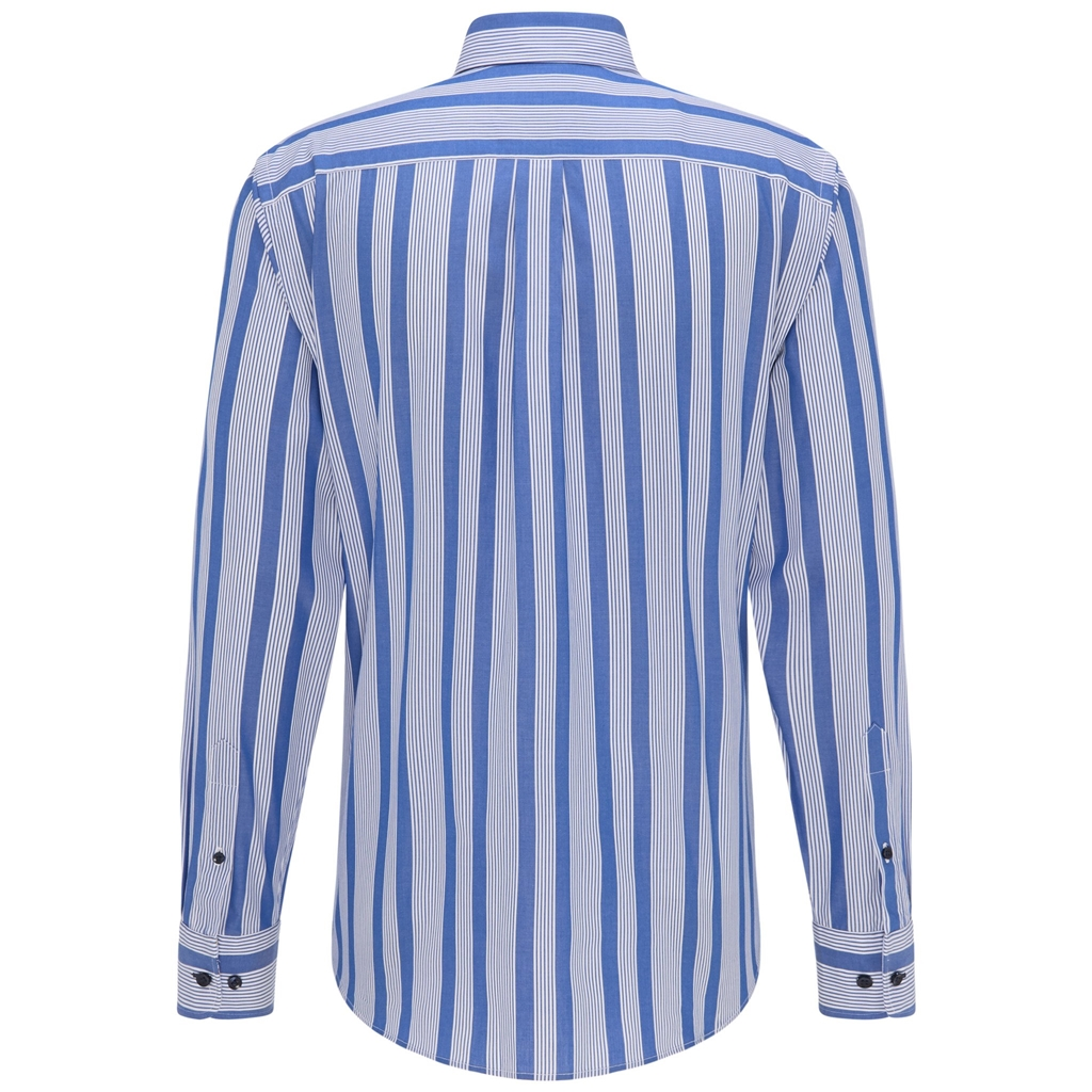Fynch Hatton Premium Cotton Shirt - Royal Blue White Stripe