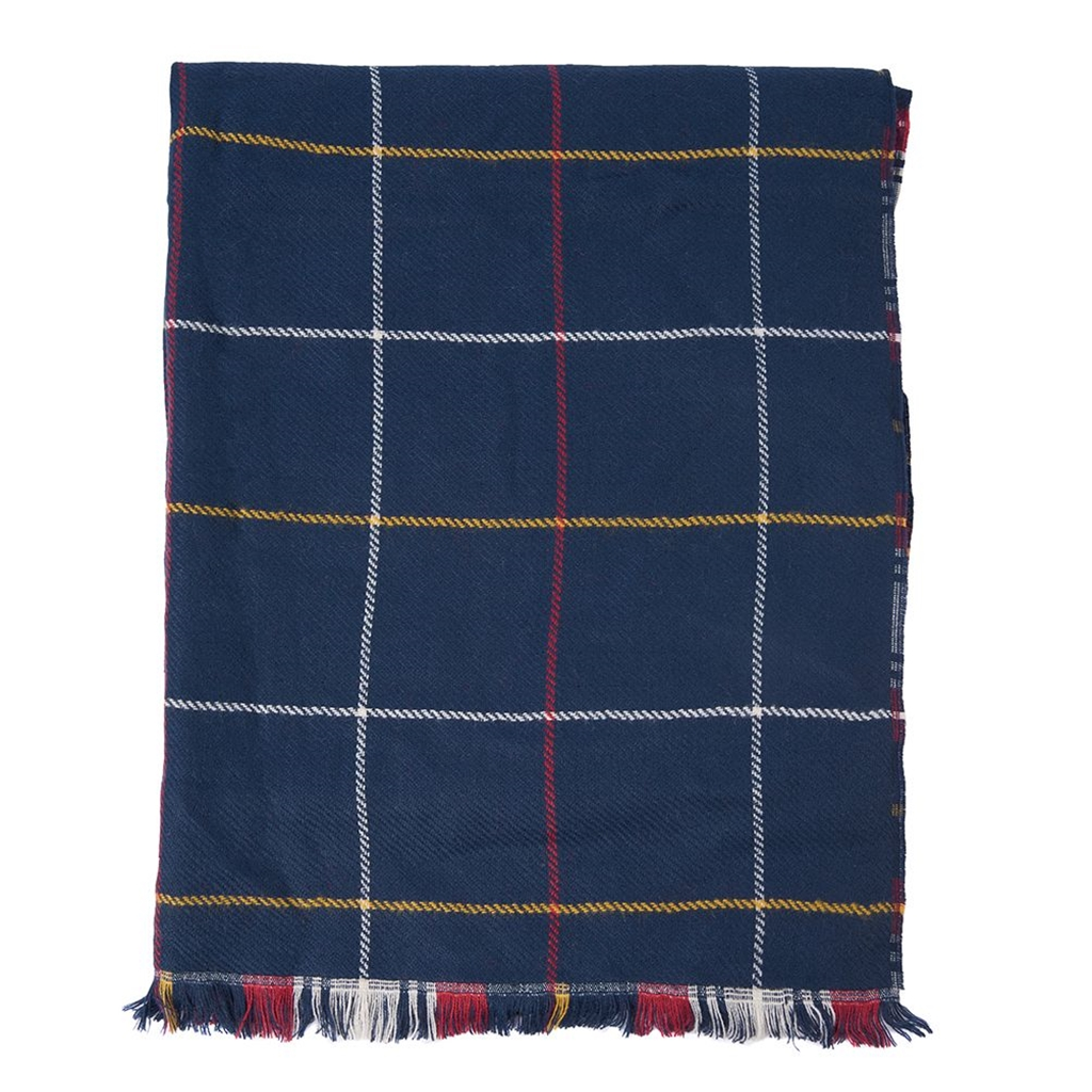 New 2020 Barbour Brecon Reversible Scarf - Navy