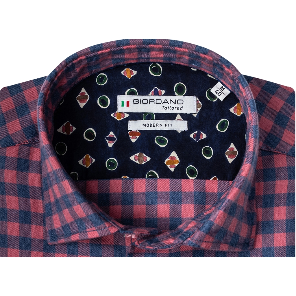 New 2020 Giordano Modern Fit Cotton Flannel Shirt - Navy Red Check