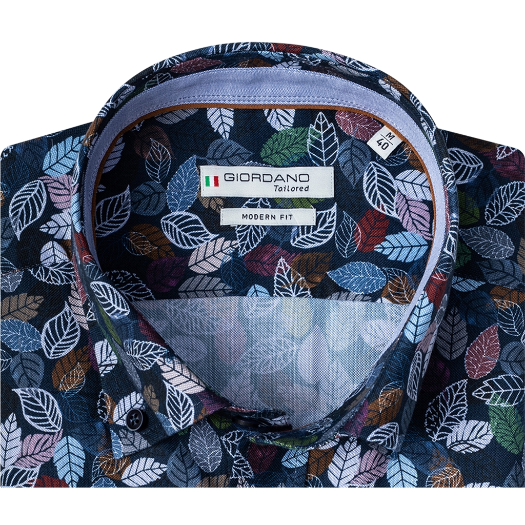 New 2020 Giordano Modern Fit Cotton Oxford Shirt - Navy Multicoloured Leaves