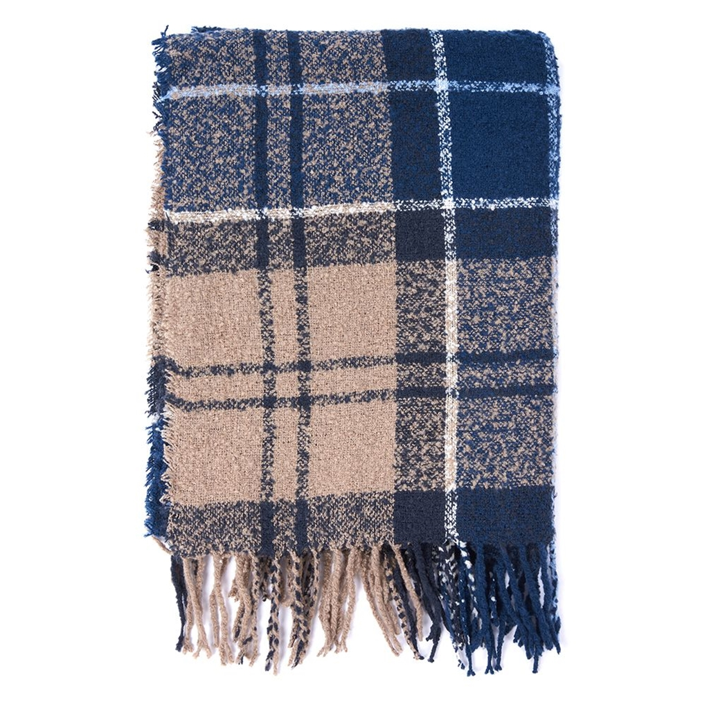 New 2020 Barbour Tartan Boucle Scarf - Blue Trench