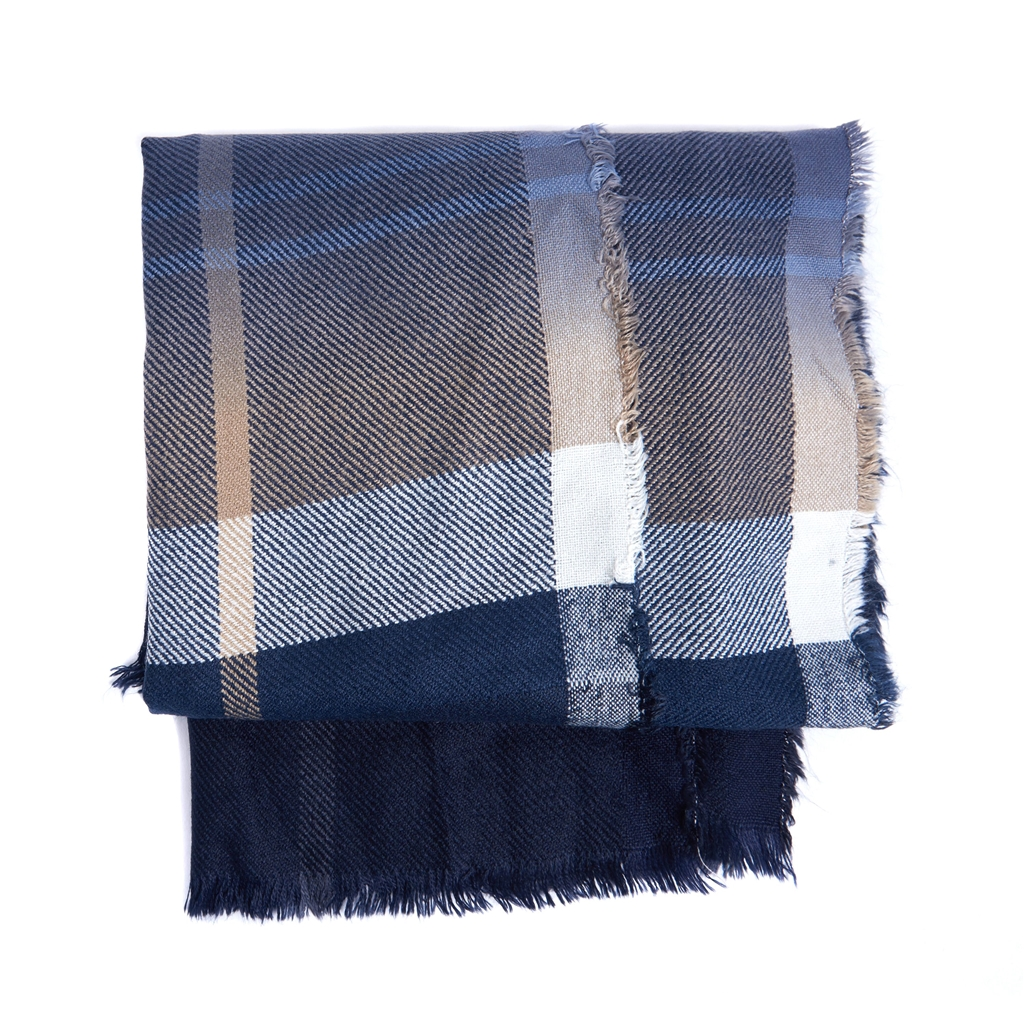 New 2020 Barbour Tartan Glenn Scarf - Navy