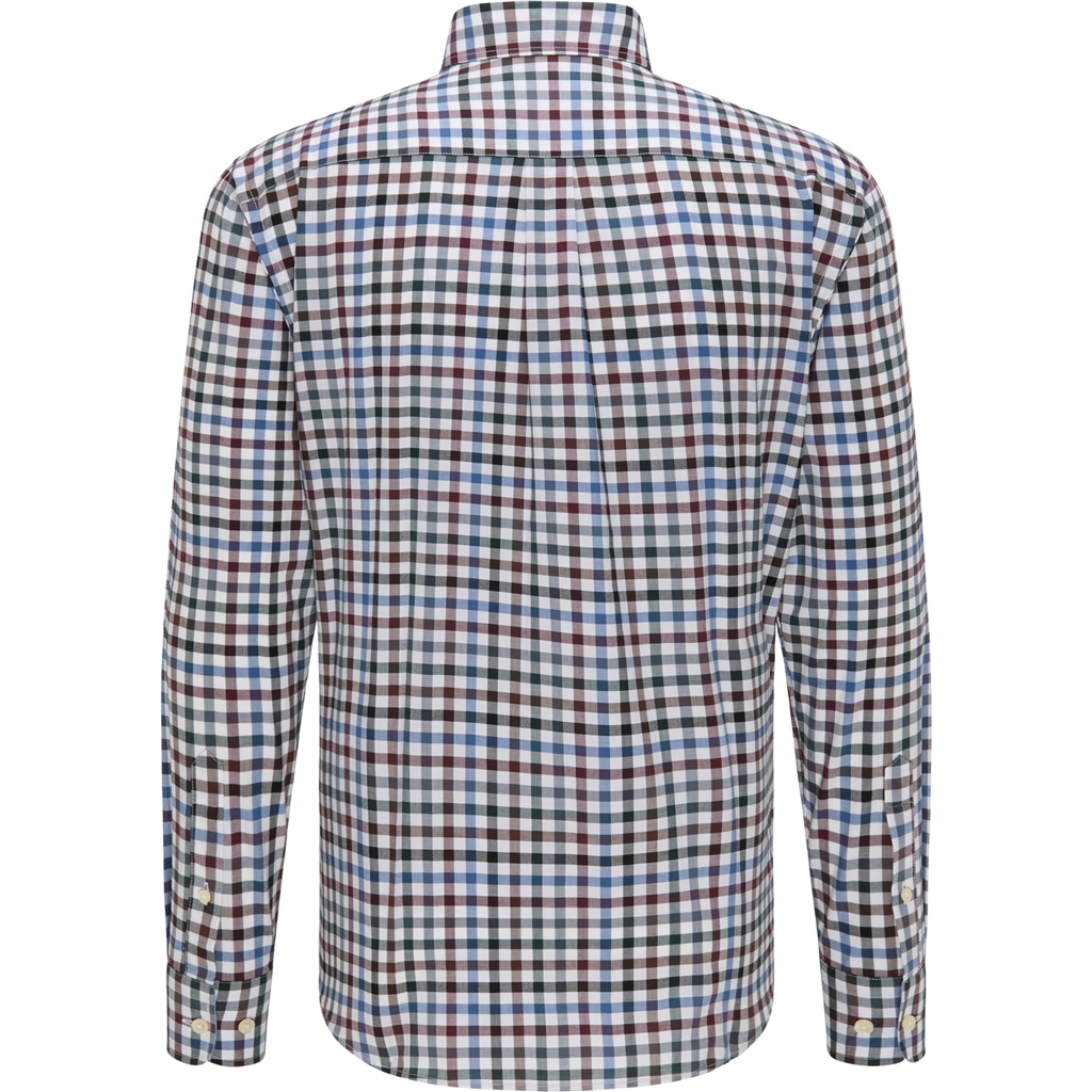 New 2020 Fynch Hatton Supersoft Cotton Shirt - Amarena Emerald Check