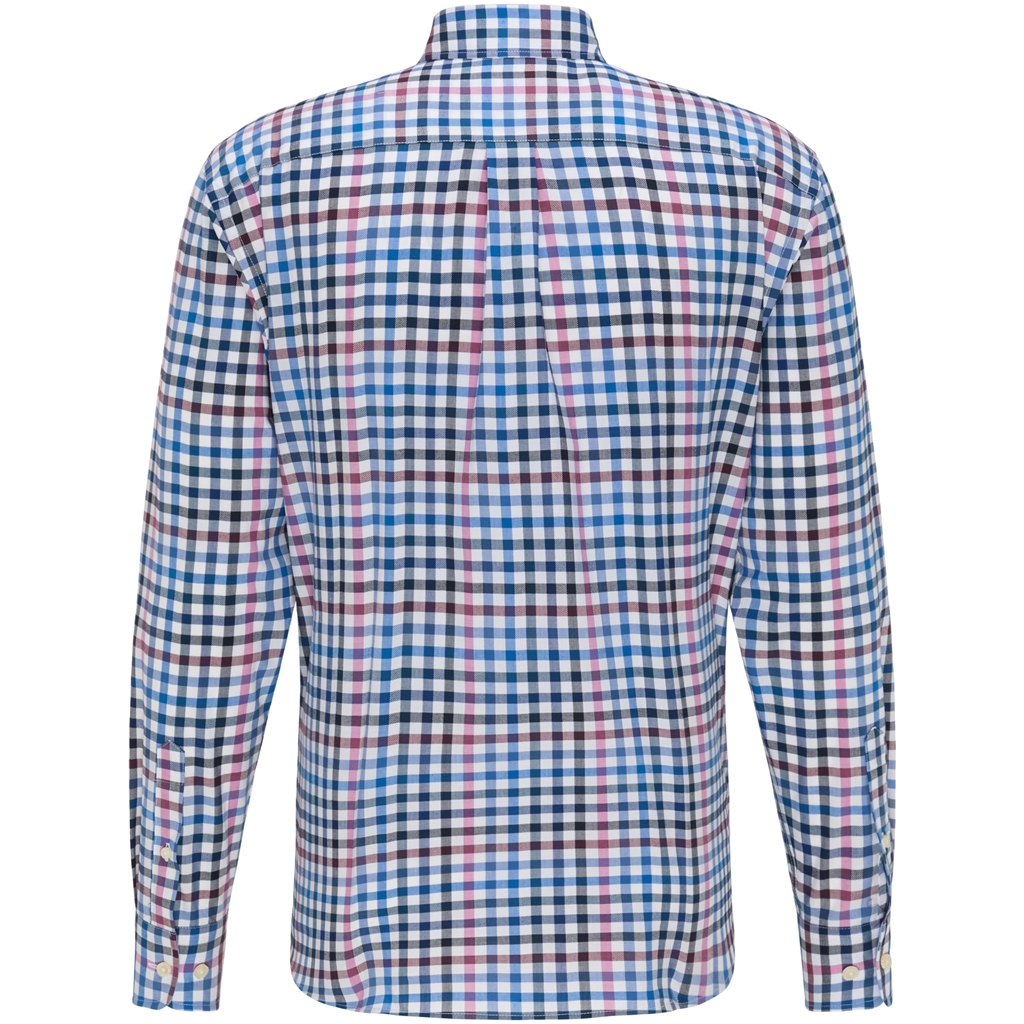 New 2020 Fynch Hatton Supersoft Cotton Shirt - Dragonfruit Blue Check