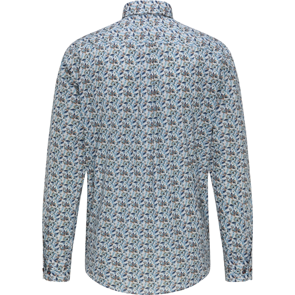 Fynch Hatton  Cotton Shirt - Printed Stripes and Flowers