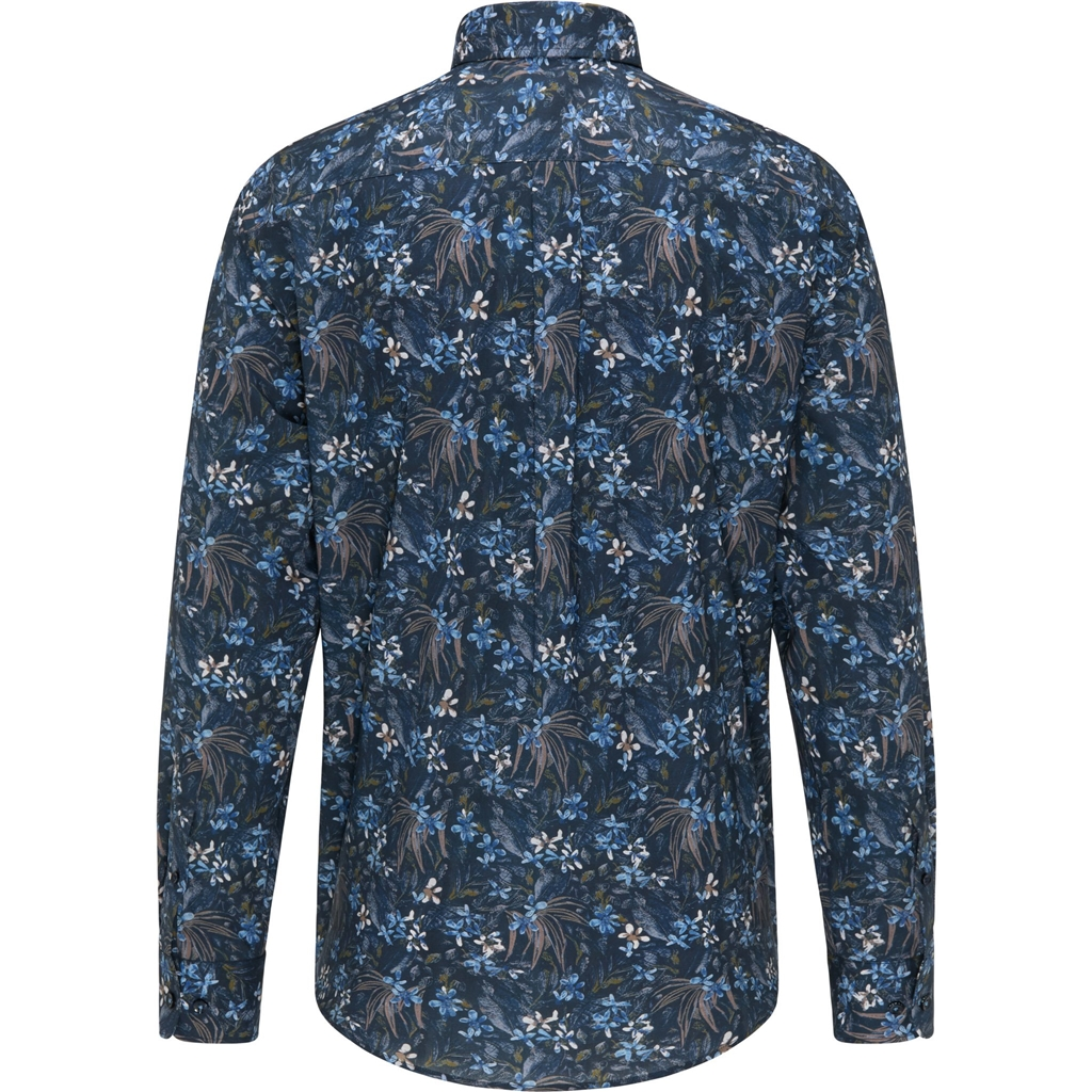 New 2020 Fynch Hatton  Cotton Shirt - Navy Flower Print