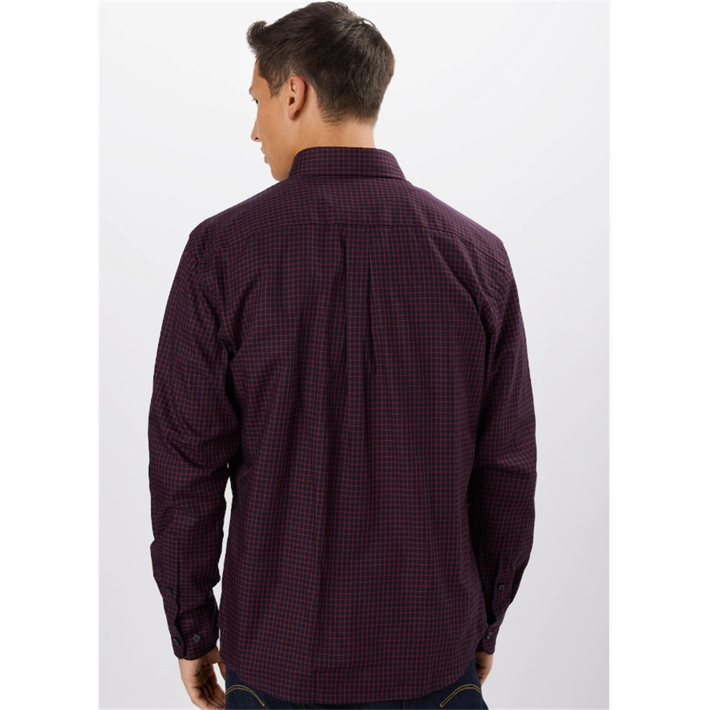 Fynch Hatton  Supersoft Cotton Twill Shirt - Navy Red Check