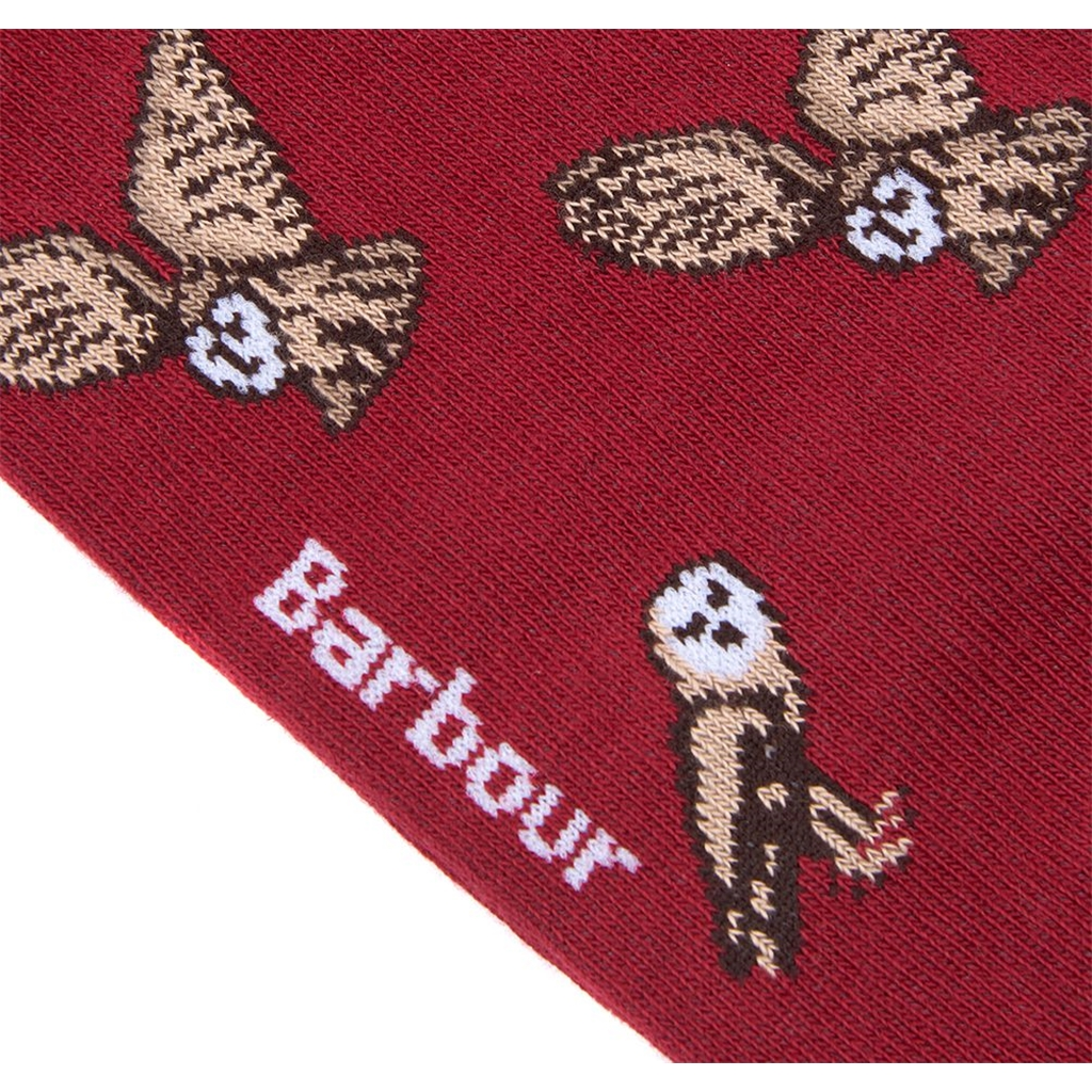 New 2020 Barbour Mens Owl Socks - Red