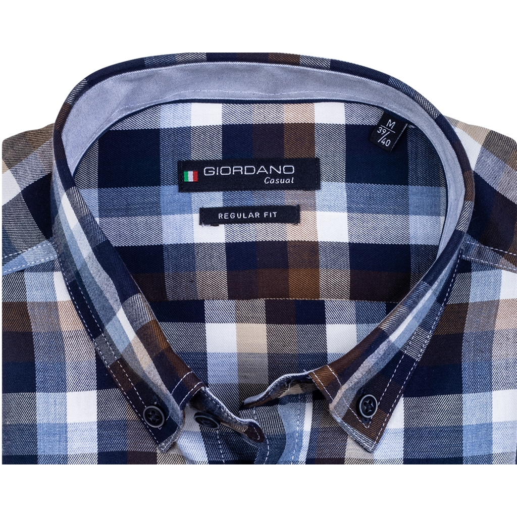 New 2020 Giordano Regular Fit Cotton Twill Shirt - Navy Beige Check