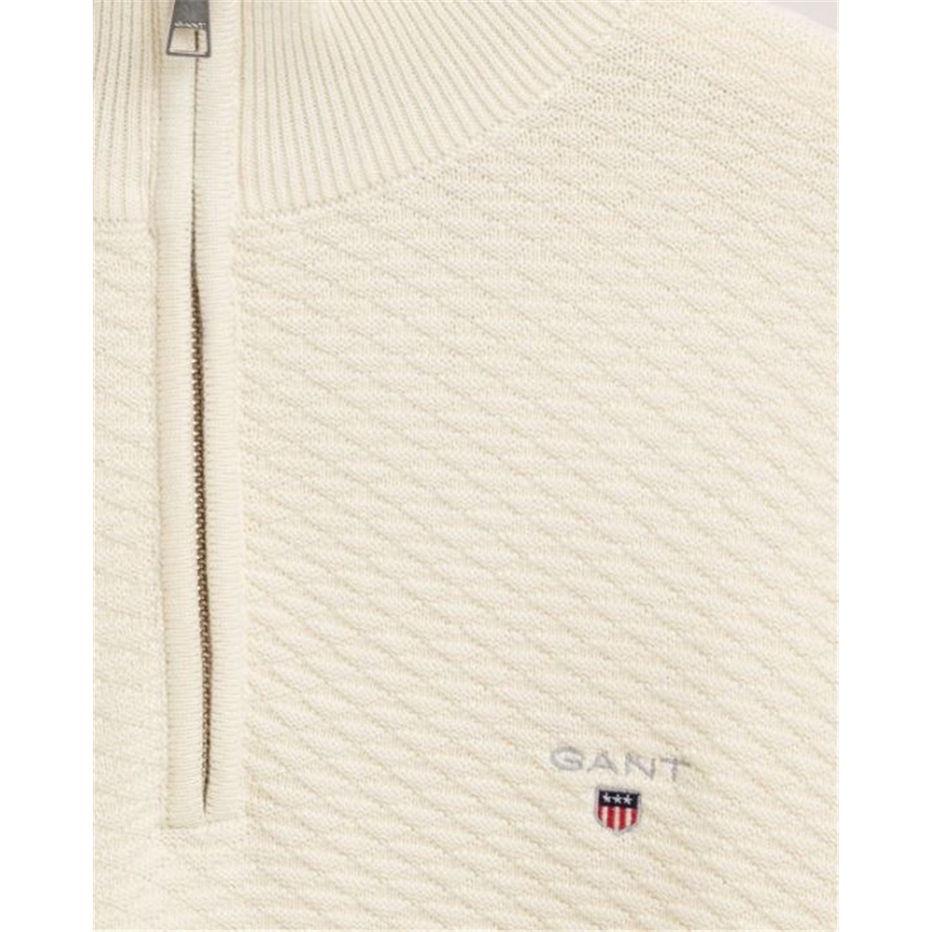 New 2020 Gant Triangle Texture Half Zip - Cream