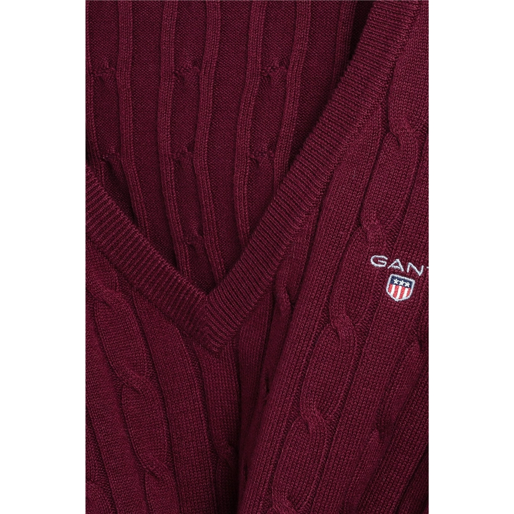 Gant Women's Cable V-Neck Jumper - Port