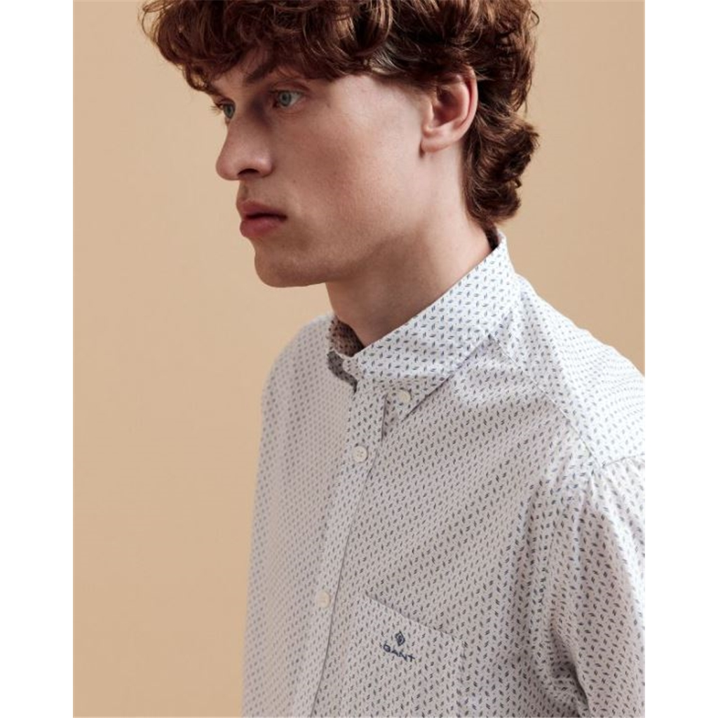 New 2021 Gant Poplin Cotton Short Sleeved Shirt - White