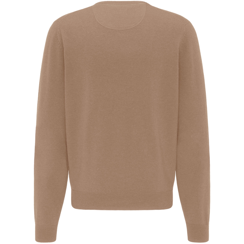 Fynch Hatton Pure Lambswool  V-Neck Sweater - Camel