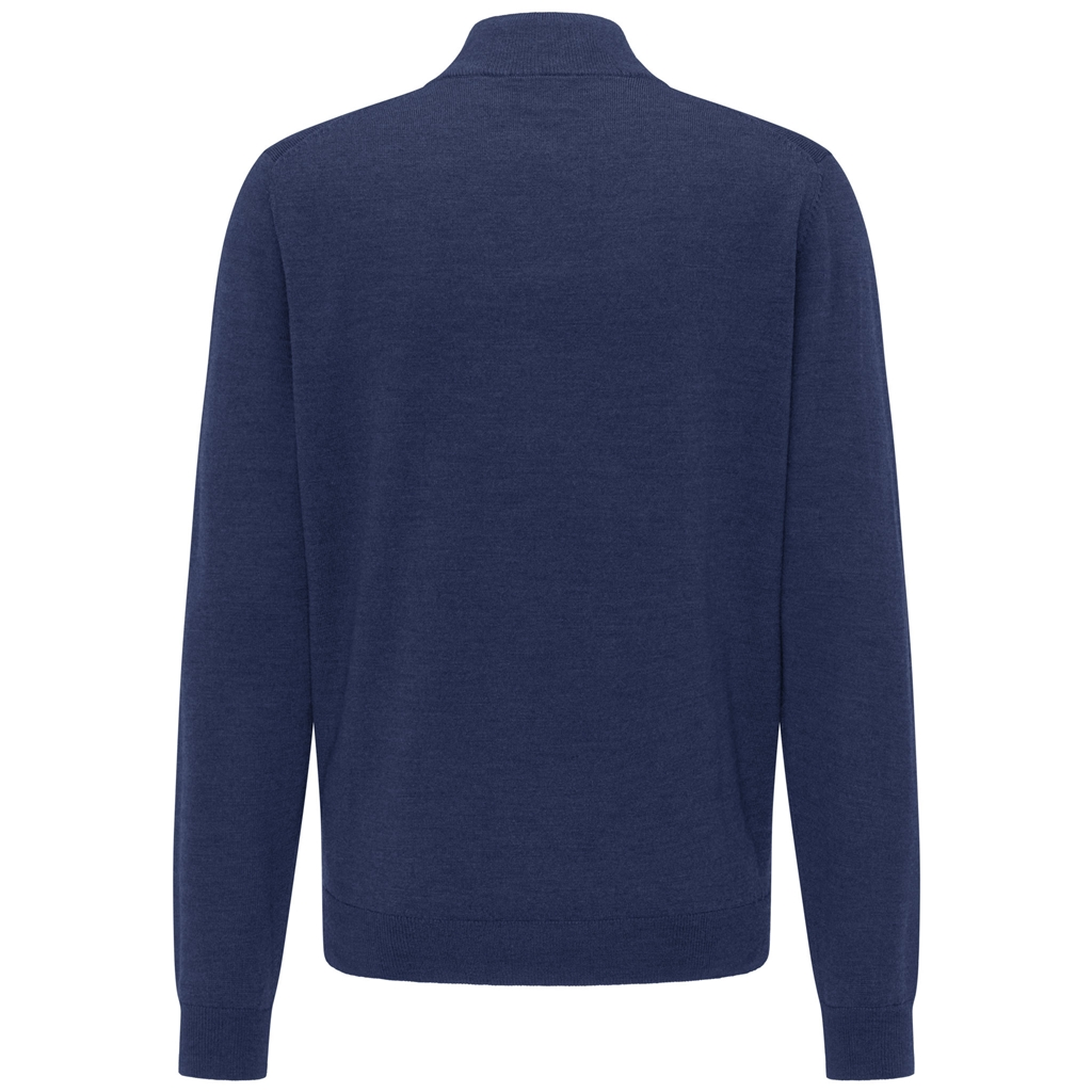 New 2020 Fynch Hatton Merino Wool Half Zip Sweater - Night