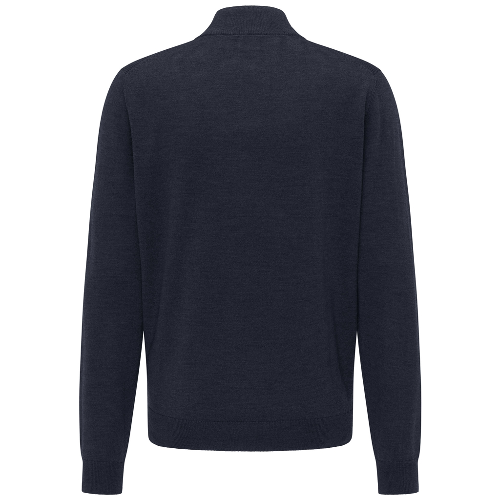Fynch Hatton Merino Wool Half Zip Sweater - Navy