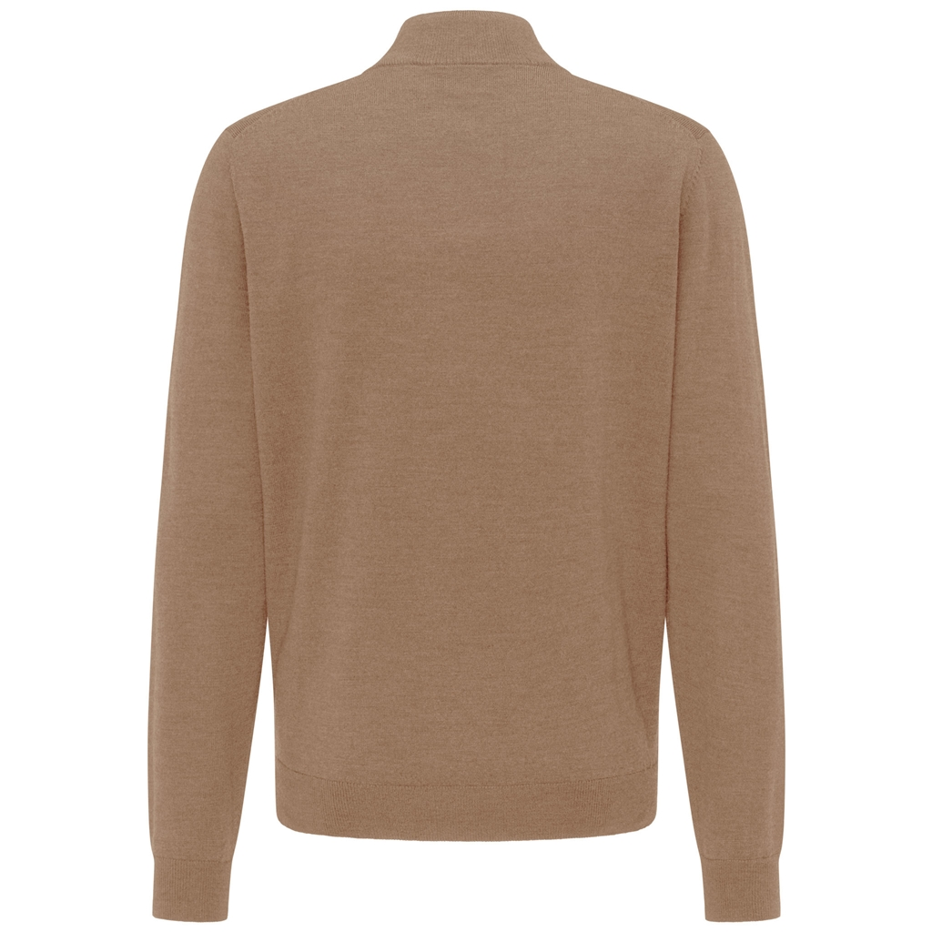 Fynch Hatton Merino Wool Half Zip Sweater - Camel