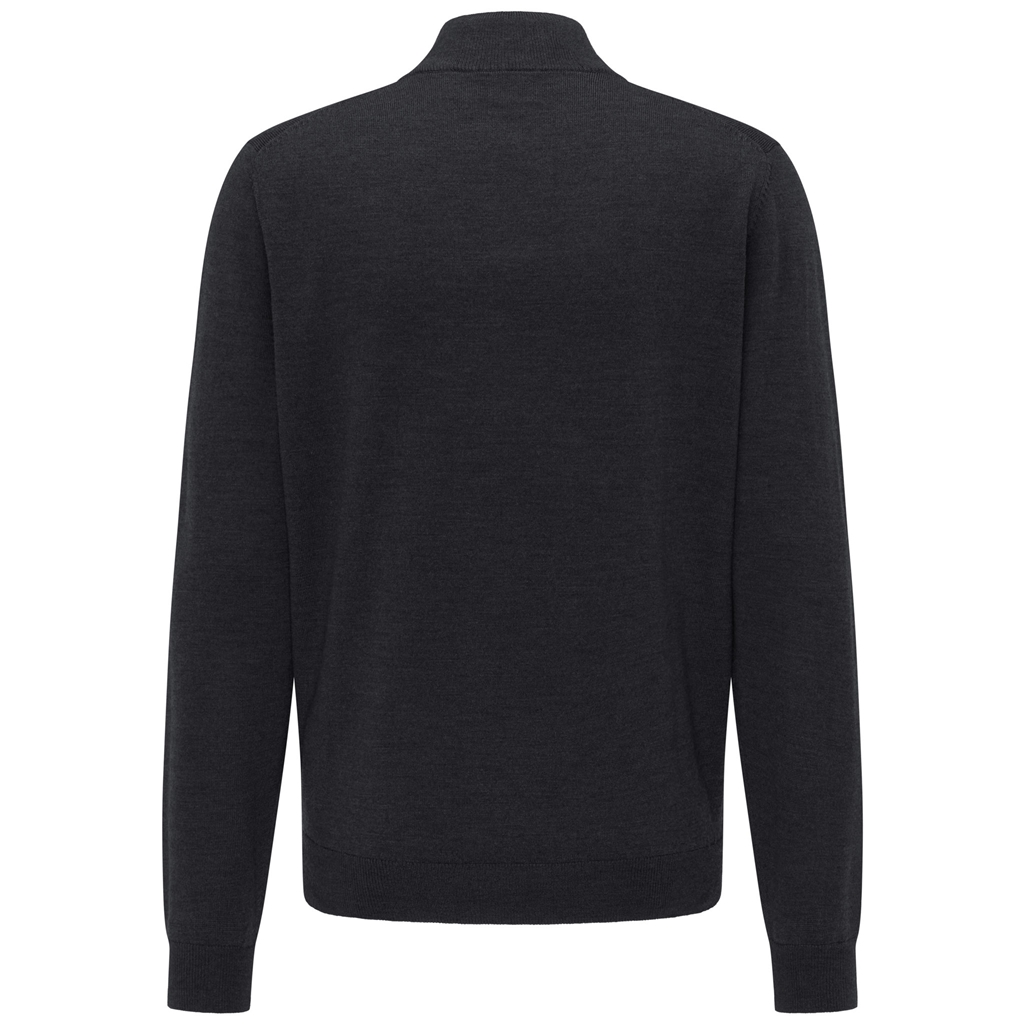 Fynch Hatton Merino wool Half Zip Sweater - Black