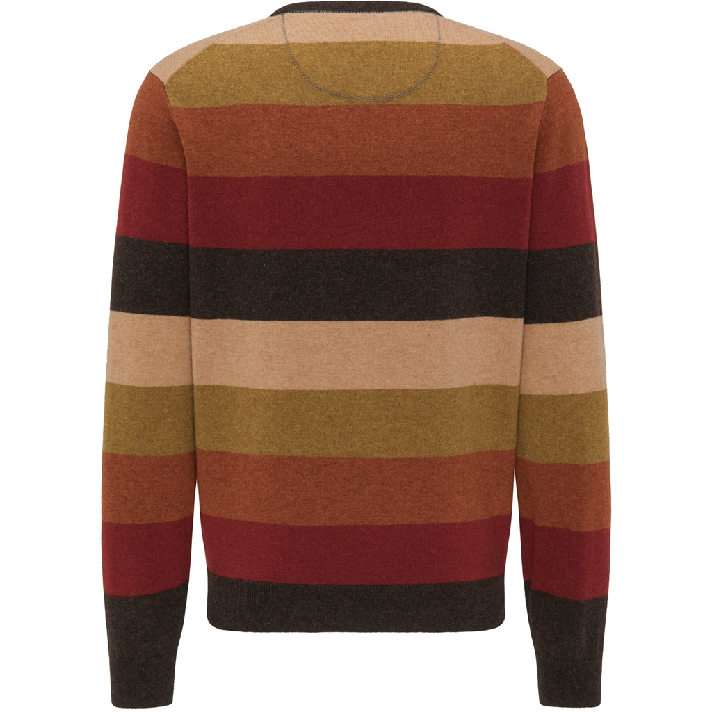 New 2020 Fynch Hatton Pure Lambswool Crew Neck Sweater - Multi Stripes