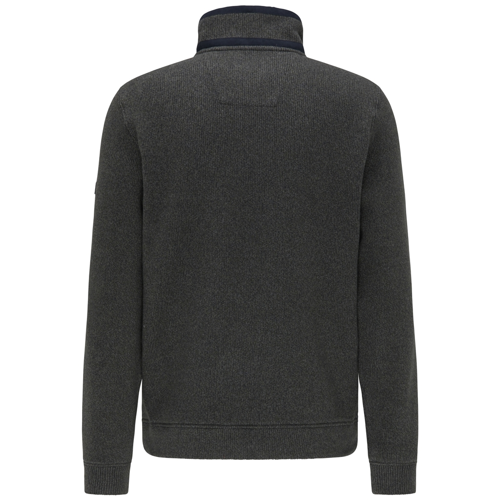 Fynch Hatton Half Zip Cotton Sweater - Pesto