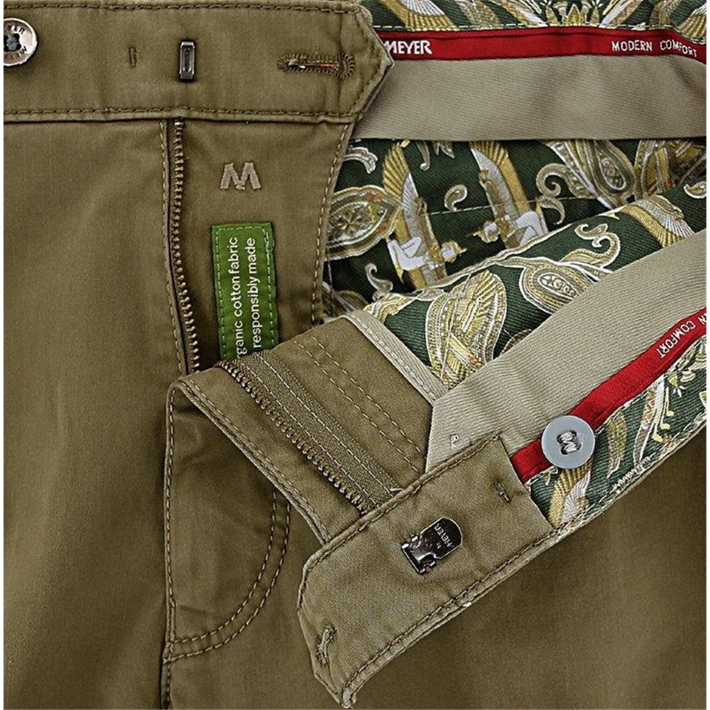 New 2020 Meyer Cotton Chino Trousers Khaki - Chicago 5545 42