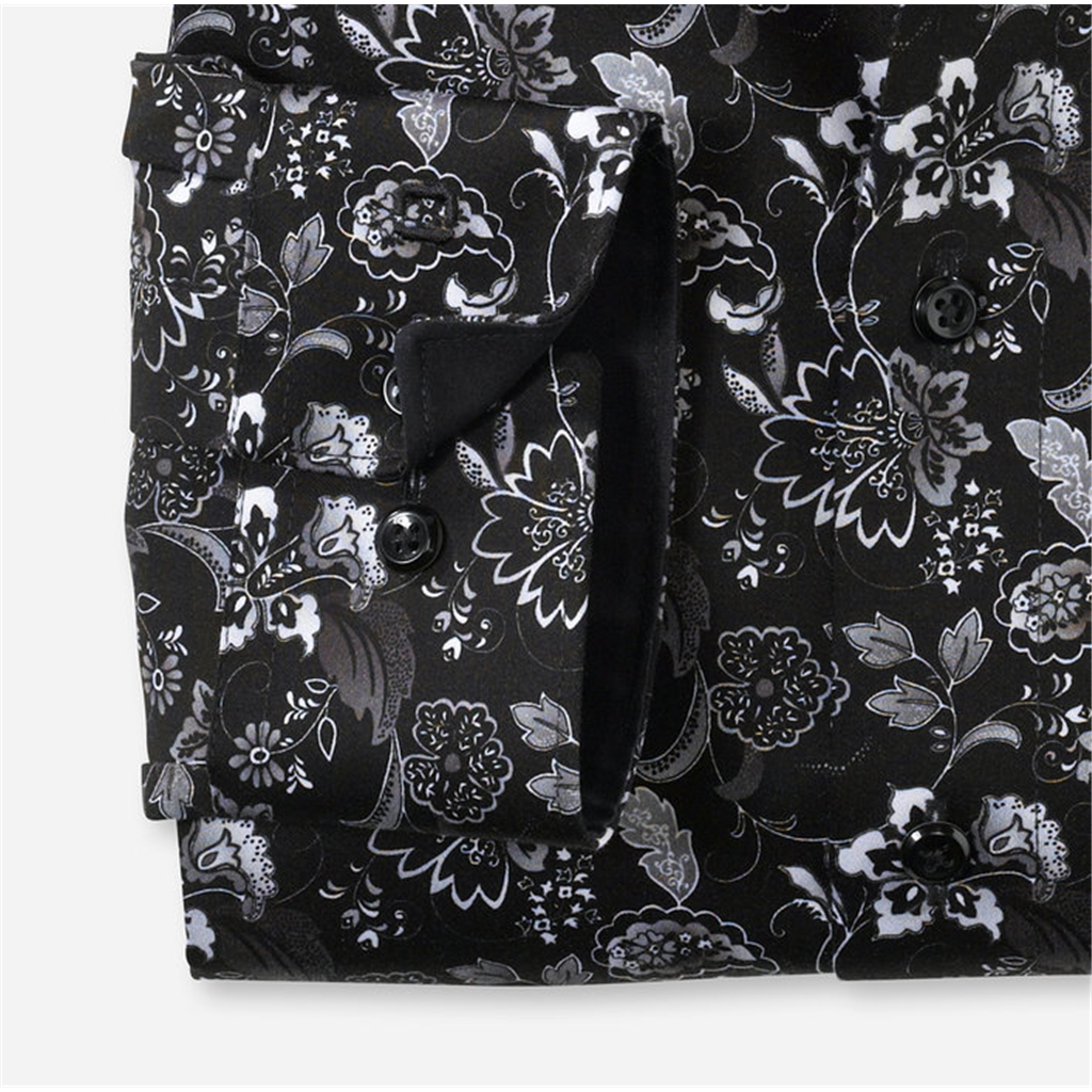 New 2020 Olymp Luxor Modern Fit Shirt - Contrast Flowers on Black