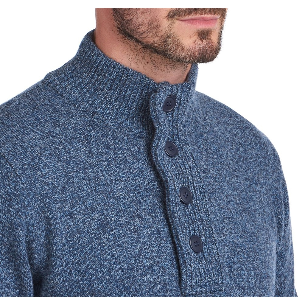 New 2020 Barbour Patch Half Zip Sweater - Inky Blue