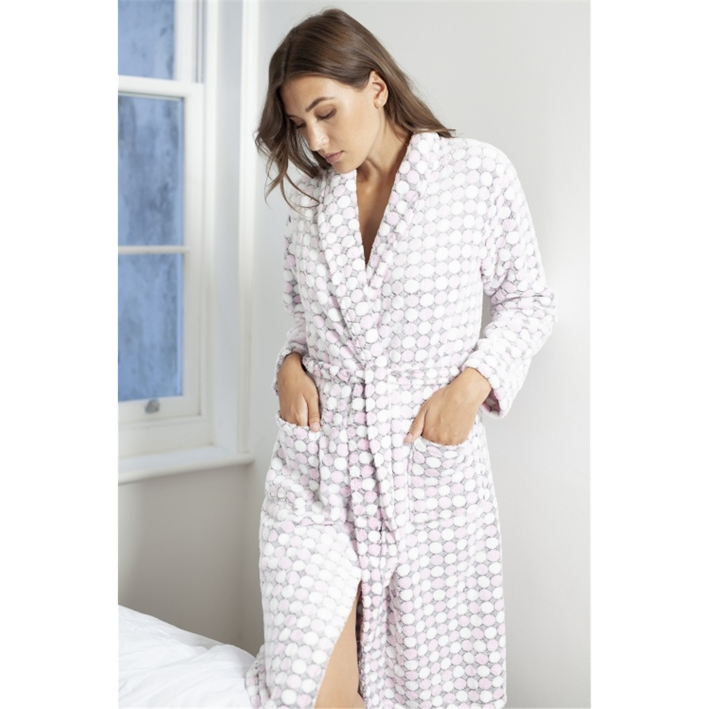 Cotton Real Polka Micro Fleece Robe - Pale Pink