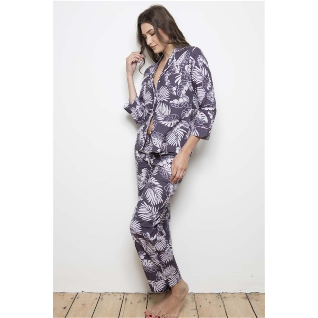 Cotton Real Plum Grand Palm Cotton Pj Set - Plum