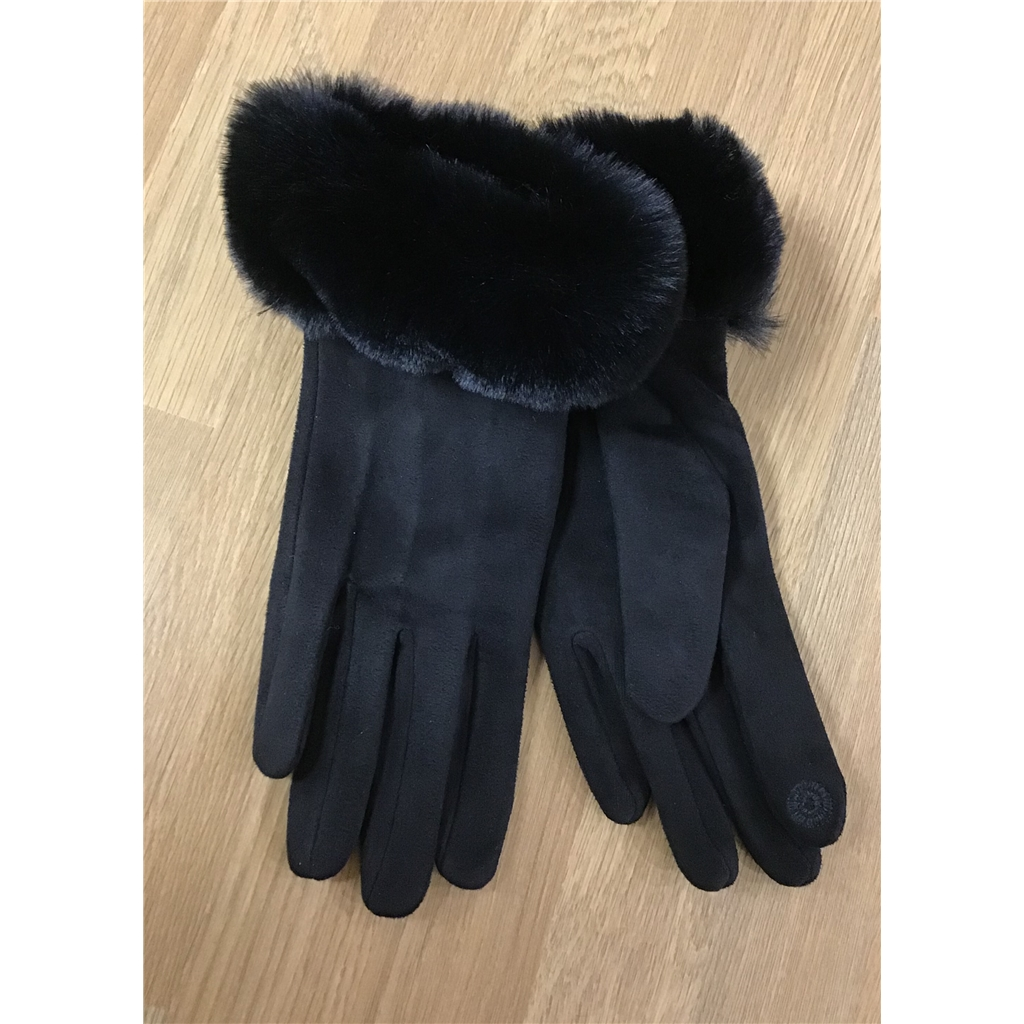 Zelly Faux Suede Gloves - Black