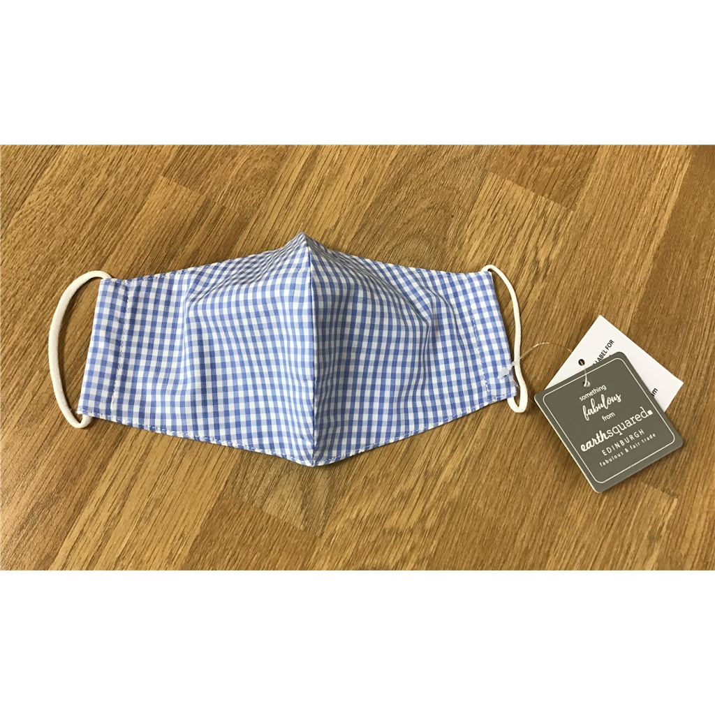Earth Squared Checked Facemask - Blue