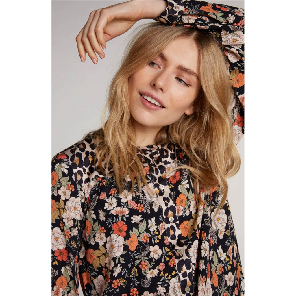 Oui Animal Floral Print Blouse - Multi