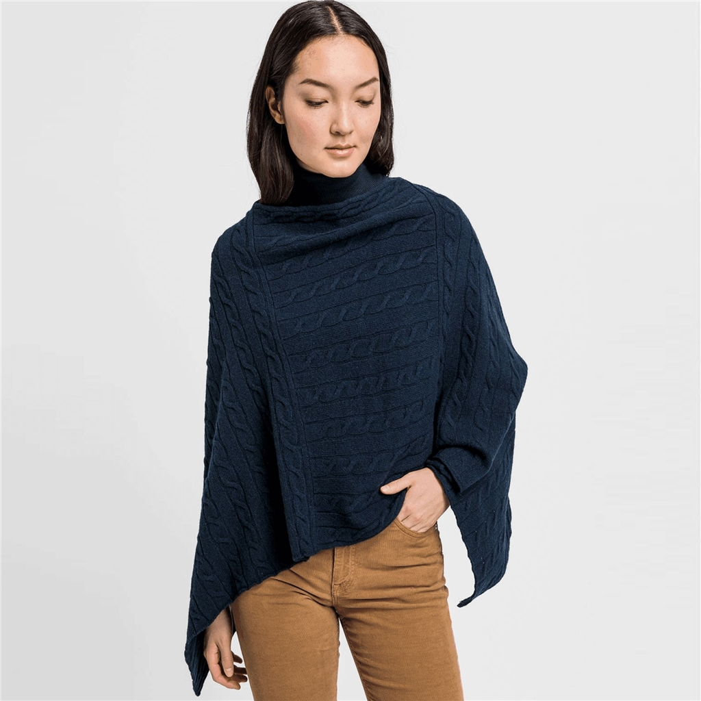 New 2020 Gant Lambswool Poncho - Evening Blue